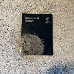 Empty Roosevelt dimes collectors folder